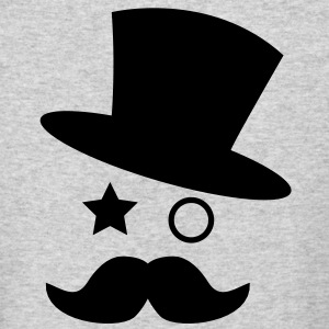 top hat and monocle with mustache Long Sleeve Shirts - Men's Long Sleeve T-Shirt by Next Level