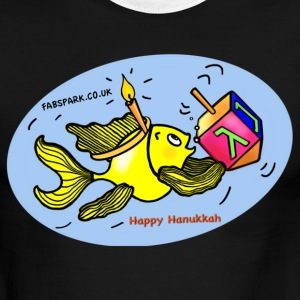 Happy Hanukkah Sparky fish comic - Men's Ringer T-Shirt