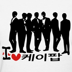 I Love K-POP in korean language txt vector graphic line art Women's Standard Weight T-Shirt