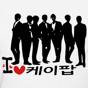 I Love K-POP in korean language txt vector graphic line art Women's Standard Weight T-Shirt - Women's T-Shirt