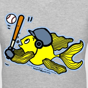 Fish Playing Baseball - Cute Funny Cartoon - Women's V-Neck T-Shirt