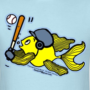 Fish Playing Baseball - Cute Funny Cartoon - Men's T-Shirt