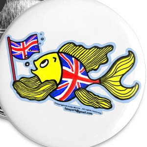 British Fish with a Union Jack Flag - Small Buttons