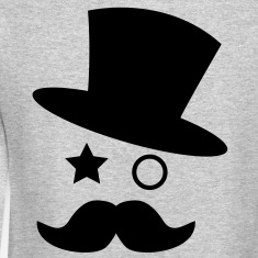 top hat and monocle with mustache Long Sleeve Shirts