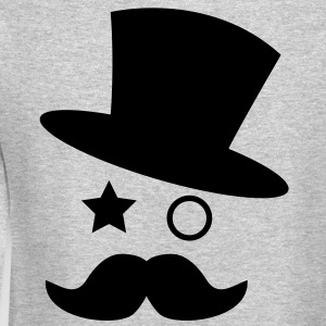 top hat and monocle with mustache Long Sleeve Shirts - Crewneck Sweatshirt
