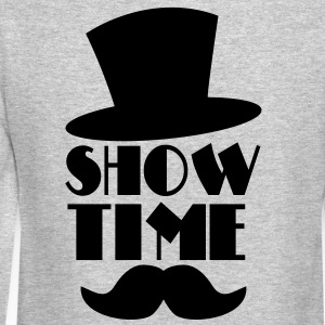 SHOW TIME MAGIC hat and moustache Long Sleeve Shirts - Crewneck Sweatshirt