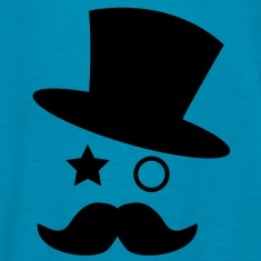 top hat and monocle with mustache Kids' Shirts