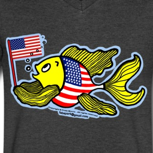 American Flag Fish - Men's V-Neck T-Shirt by Canvas
