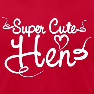 SUPER CUTE HEN for hens and bucks in tattoo font T-Shirts - Men's T-Shirt by American Apparel