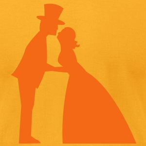 Wedding kiss in a top hat and bridal gown  T-Shirts - Men's T-Shirt by American Apparel
