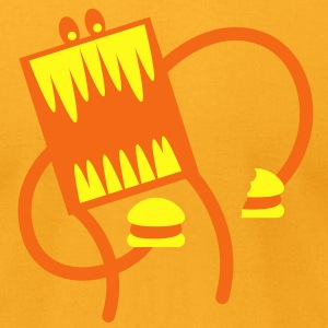 burger monster with big teeth and a cheeseburger T-Shirts - Men's T-Shirt by American Apparel