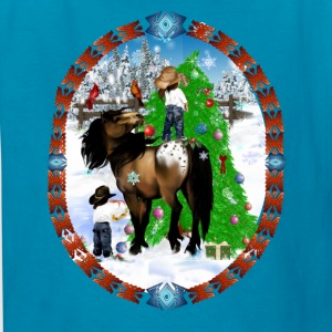 A Horse and A Kid Christmas Oval - Kids' T-Shirt