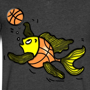 Basketball Fish, Fish Playing Basketball - Men's V-Neck T-Shirt by Canvas