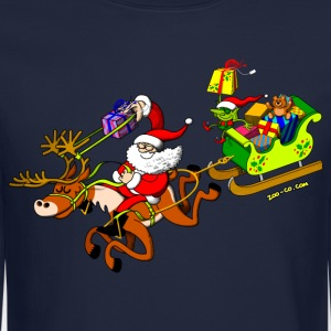 Santa's Gift Delivery with a Slingshot Long Sleeve Shirts - Crewneck Sweatshirt
