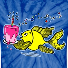 Happy Birthday, Fish with cake and candle