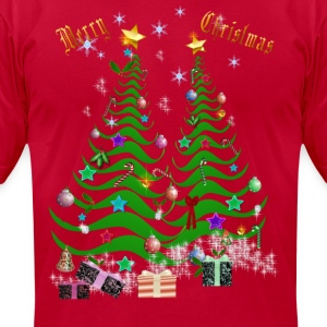 Artsy Christmas Tree and Decorations-lettered - Men's T-Shirt by American Apparel