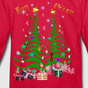 Artsy Christmas Tree and Decorations-lettered - Kids' Long Sleeve T-Shirt