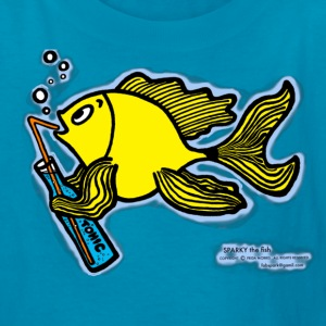 Drinking fish smoky, Sparky the Fish with a Drink - Kids' T-Shirt