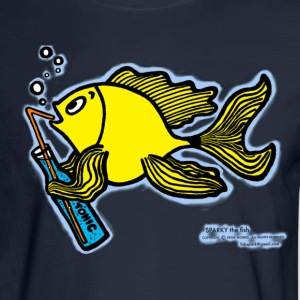 Drinking fish smoky, Sparky the Fish with a Drink - Men's Long Sleeve T-Shirt