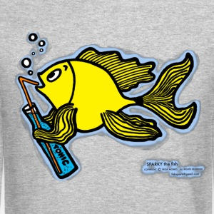 Drinking fish smoky, Sparky the Fish with a Drink - Crewneck Sweatshirt