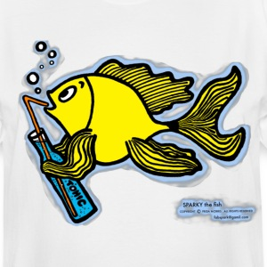 Drinking fish smoky, Sparky the Fish with a Drink - Men's Tall T-Shirt