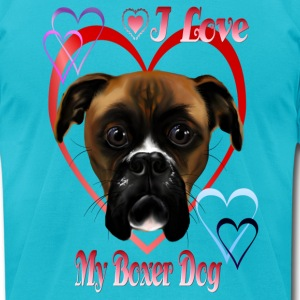 I Love  My Boxer Dog - Men's T-Shirt by American Apparel