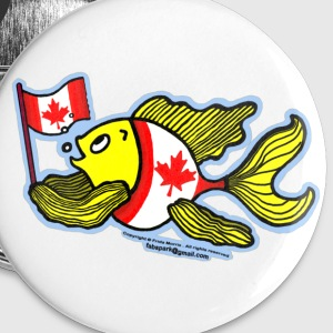 Canadian Flag Fish , Fish holding Canada Flag  - Small Buttons