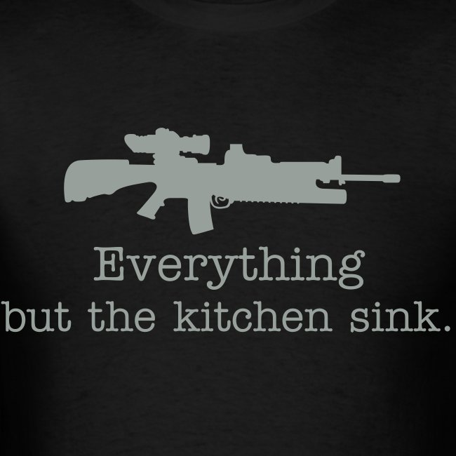 Everything but the kitchen sink AR15 gray text