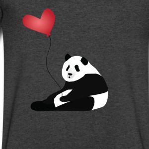 Panda with balloon T-Shirts - Men's V-Neck T-Shirt by Canvas