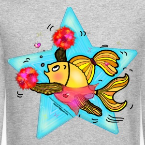Cheerleader Fish cute funny sparky comics Cheer (Clear Background)  - Crewneck Sweatshirt
