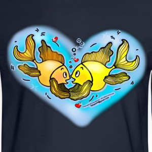 Big Love Fish cute  hug in Blue Hart - Men's Long Sleeve T-Shirt