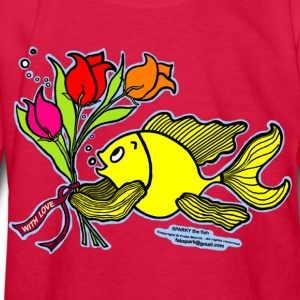 With Love, Fish with Flowers, Sparky the fish  - Kids' Long Sleeve T-Shirt