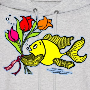 With Love, Fish with Flowers, Sparky the fish  - Men's Hoodie