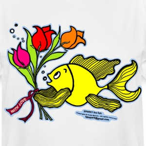 With Love, Fish with Flowers, Sparky the fish  - Men's Tall T-Shirt