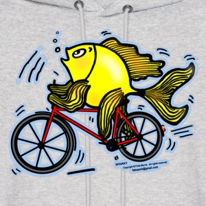 Bicycle Fish , Fish riding a Bicycle  - Men's Hoodie