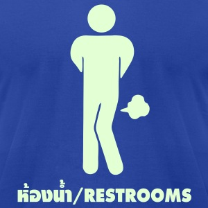 Funny Farting Restrooms / Toilet Sign / Glow in the Dark - Men's T-Shirt by American Apparel