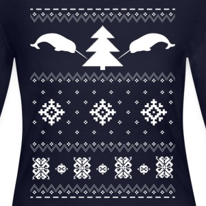 Narwhal Christmas Sweater Long Sleeve Shirts - Women's Long Sleeve Jersey T-Shirt