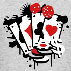 Card game hearts, spades, diamonds, clubs with dice and tokens Long Sleeve Shirts