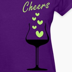cheers hearts wine glass Women's Standard Weight T-Shirt