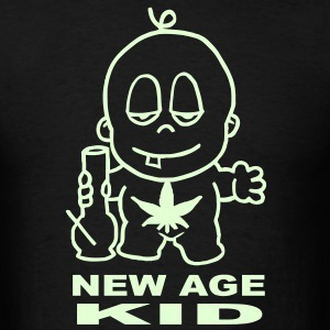 New Age Kid smoking a bong with a cannabis leaf t-shirt T-Shirts - Men's T-Shirt