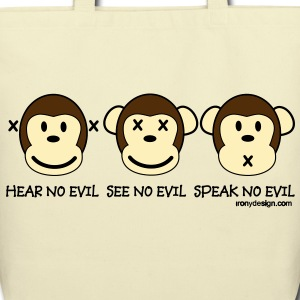 Three Wise Monkeys - Eco-Friendly Cotton Tote