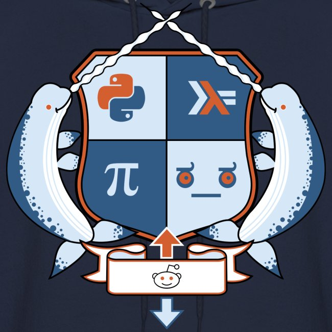 Reddit Coat of Arms: r/python, r/haskell, r/math, and disapproval emoticon