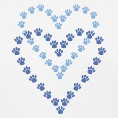 Paws Here Women's Standard Weight T-Shirt Blue Paw Prints