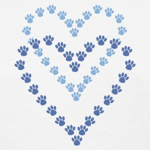 Paws Here Women's Standard Weight T-Shirt Blue Paw Prints - Women's T-Shirt