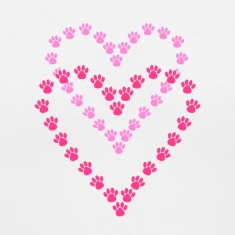 Paws Here Women's V-Neck T-Shirt Pink Paw Prints
