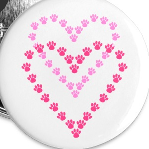 Paws Here Large Button Pink Paw Prints - Large Buttons