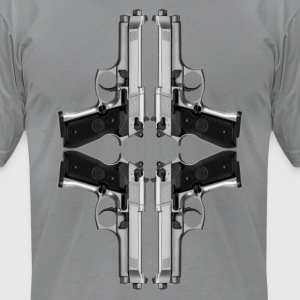 Quad HandGuns - Men's T-Shirt by American Apparel
