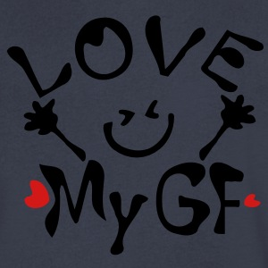 Love My GF Men's V-Neck T-Shirt by Canvas - Men's V-Neck T-Shirt by Canvas