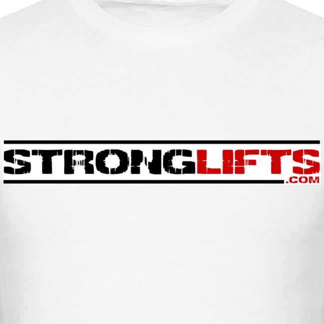 """StrongLifts """"Barbell Goes Here"""" White T-shirt"""