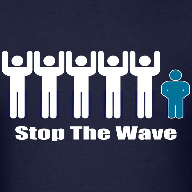 Men's Navy/White/Teal Stop The Wave Logo T-Shirt
